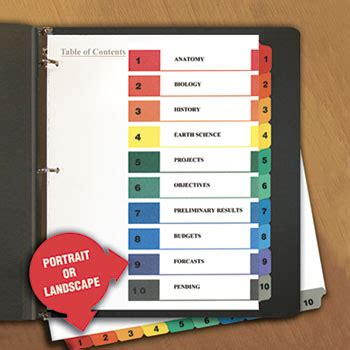 table  contents dividers  universal unv