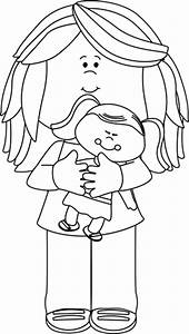 Black and White Little Girl Holding a Doll Clip Art ...
