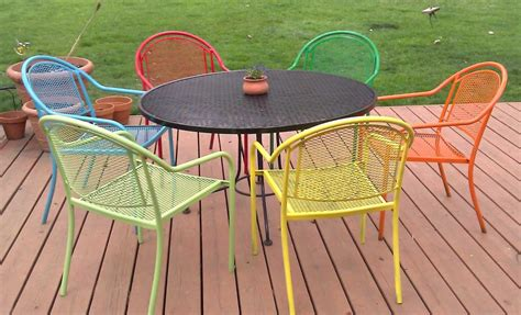 painting metal patio furniture with six chairs and
