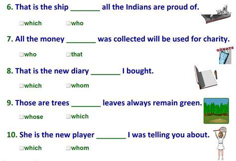 relative pronouns worksheet  answers