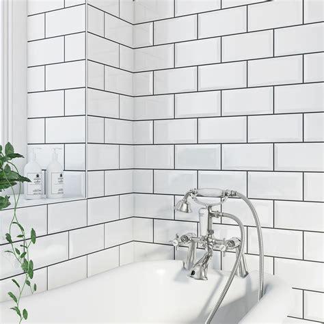 Metro Fliesen Bad by Ceramic Tile Metro Bevel White Gloss Tile 100mm X