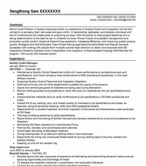 Quality Manager Resume by Quality Manager Resume Sle Livecareer
