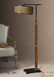 Allendale drum shade distressed burnished wood base for Distressed metal floor lamp
