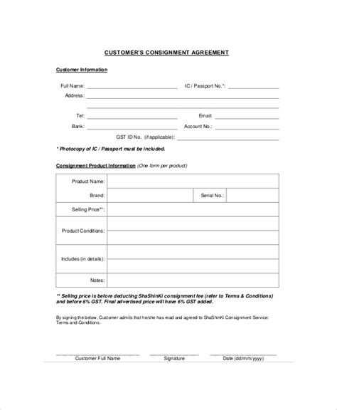 Consignment Store Contract Template by Consignment Agreement 10 Free Pdf Word Documents