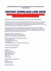 2004 2006 Hyundai Sonata Nf Workshop Repair Service Manual