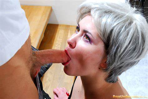 Grey Haired Old Short Haired Woman Strokes Puss Youthful