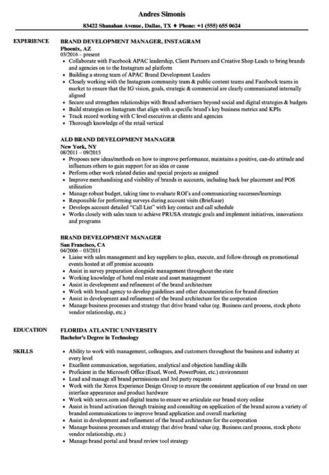 Brand Manager Resume by Brand Development Manager Resume Sles Velvet