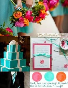 tiffany blue, orange and pink | Wedding! :) | Pinterest