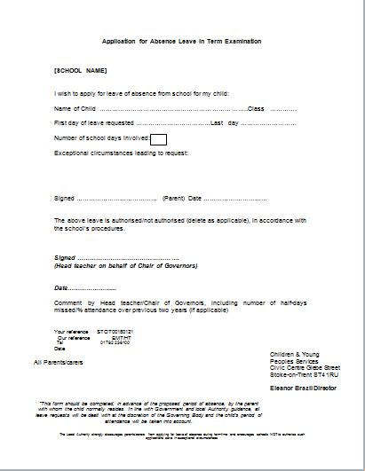 term absence leave application form document templates
