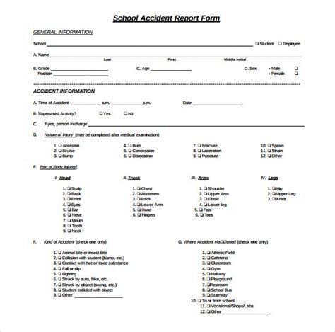 sample accident report templates  word pages