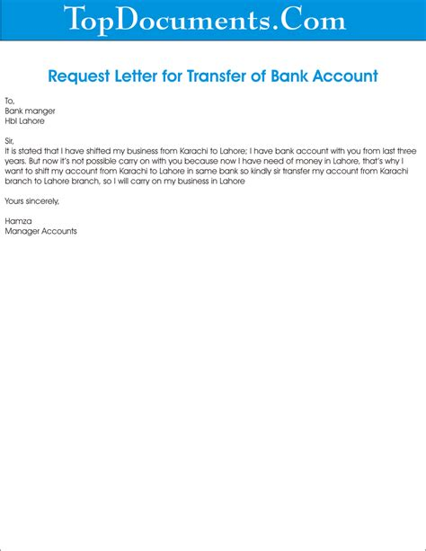 application letter transfer bank account   write
