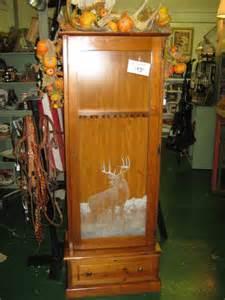 gun cabinet etched deer in glass door photo picture