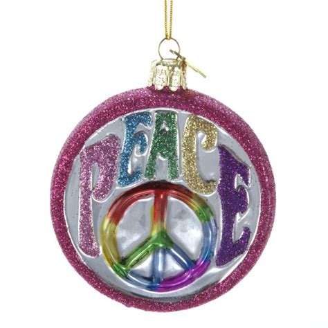 hippie peace sign glass christmas tree ornament