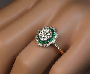 emerald engagement rings 1920s deco emerald platinum engagement ring at 1stdibs