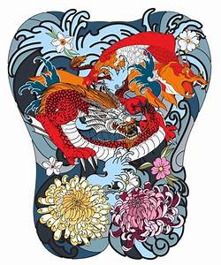 Japanese Wave For Tattoo. Hand Drawn Dragon And Koi Fish ...