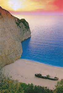 Navagio Beach Zakynthos Greece at Sunset