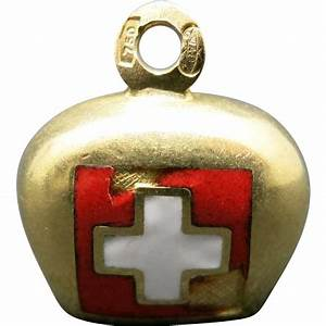 Swiss Cow BELL Charm 18 Karat Yellow GOld Enamel CHIPPED