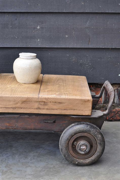 Vintage Industrial Wheeled Coffee Table Small  Home Barn