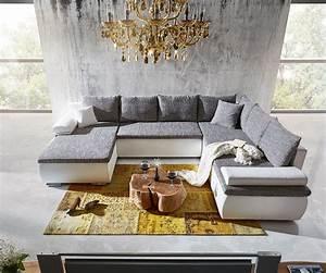 Billige Sofas Mit Schlaffunktion : wohnlandschaft cariba 322x250 weiss grau schlaffunktion m bel sofas m belsch nheiten im ~ Indierocktalk.com Haus und Dekorationen