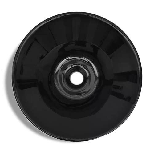 Ceramic Bathroom Sink Basin Black Round Uk