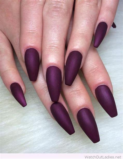 cool long wine matte coffin nail design unhas