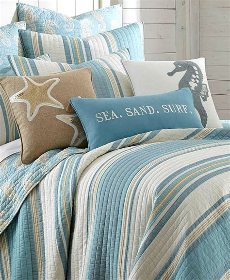blue beach striped bedding quilt set  seahorse motif
