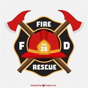 Emblema con casco de bomberos Descargar Vectores gratis