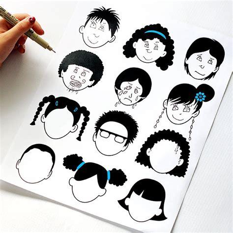 chambre enfants deco dessin de têtes pour enfant