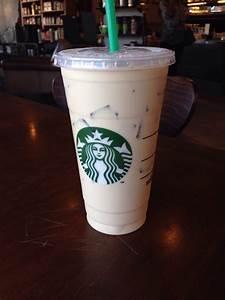 Vanilla iced coffee, Grande in a Venti cup, extra breve ...