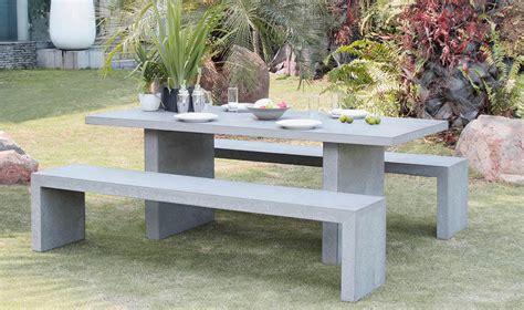 Salon de jardin design ciment effet bu00e9ton  1 table 6/8 places + 2 bancs