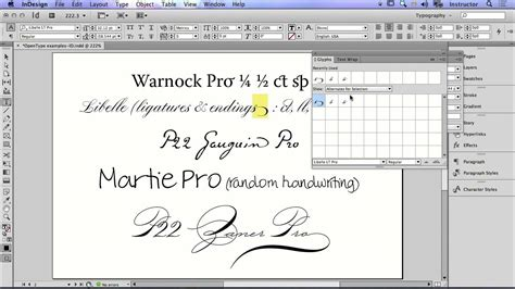 how to use the glyphs panel to replace font characters in