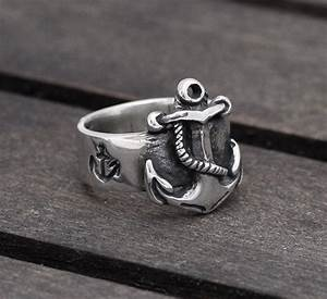 buy a handmade first mate nautical anchor sterling silver With anchor wedding rings