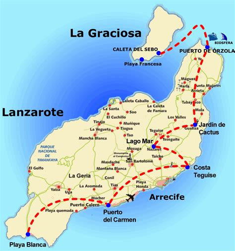 Map That Shows Lanzarote And La Graciosa Island Canary