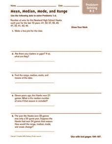 mean median mode and range problem solving 4th 5th grade worksheet lesson planet