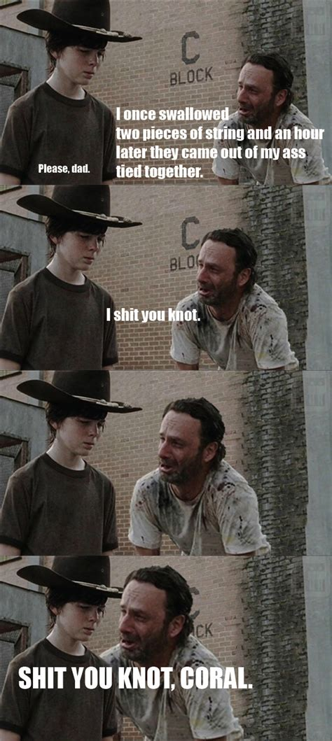 Memes The Walking Dead - shit you knot carl know your meme