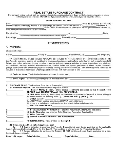 real estate purchase agreement form sample image gallery