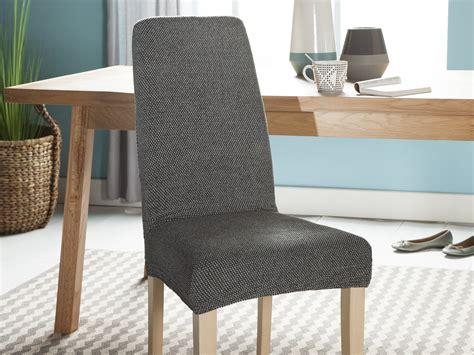 housse chaise extensible housse de chaise unie extensible effet nid d 39 abeille hugo gris