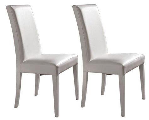 lot de 2 chaises design italienne vertigo en tissu enduit polyurethane simili facon cuir blanc