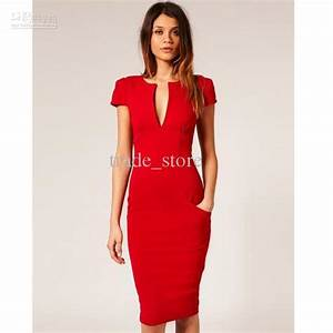 hot fashion evening party dress women39s sexy dress v neck With robe droite rouge