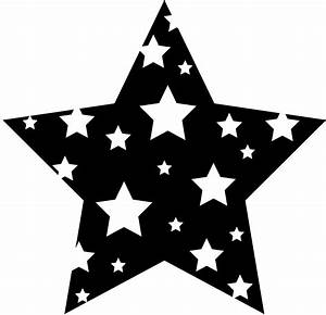 Black and White Starry Star - Free Clip Art