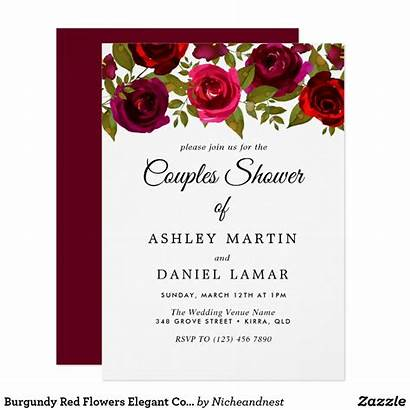 Invitation Flowers Invitations Elegant Zazzle Burgundy Rose