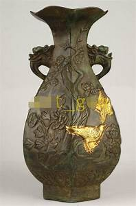 China Old Bronze Gold Embossed Flowers Magpies Dragon ...