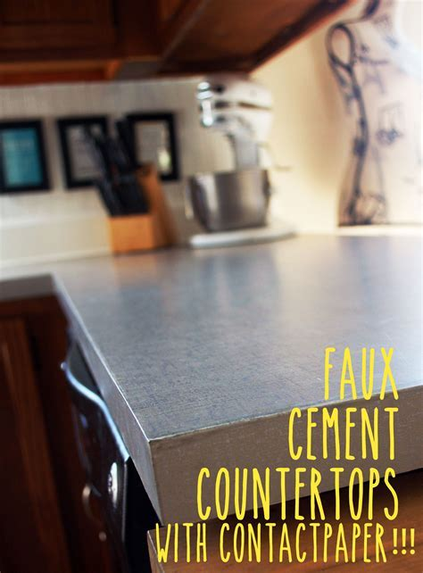 Faux Cement Countertops with Contact Paper!!! This looks