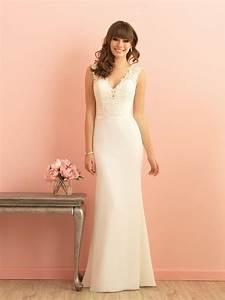 simple romantic sleeveless lace v neck floor length With v neck sheath wedding dress