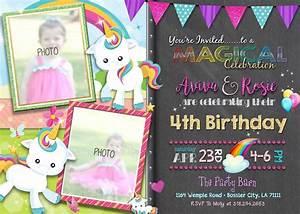 Girl Joint Unicorn  U0026 Rainbows Birthday Invitation Twin Girls Invitations  U2013 Craftykizzy