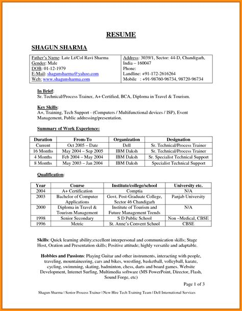 Resume 101 Pdf by Resume Format Pdf For Freshers 100 Images Academic Writing