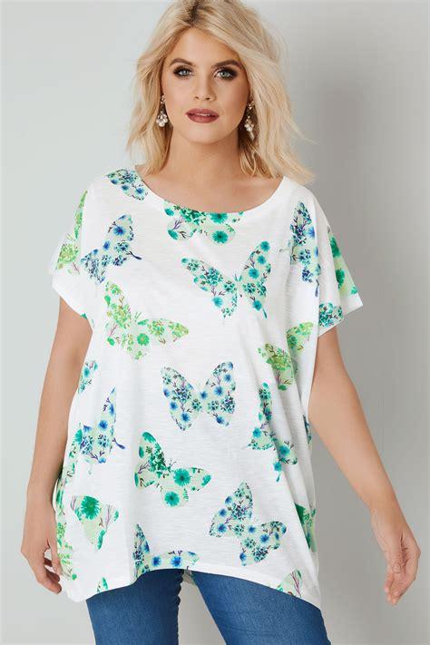 Blue Vanilla Curve  Top Blanc Avec Papillons Verts