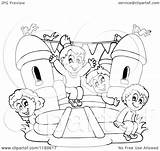 Castle Bouncy Playing Clipart Happy Bounce Children Cartoon Vector Outlined Visekart Royalty Coloring Sheet Illustration Bouncer Template Collc0161 sketch template