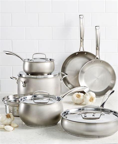 belgique  pc stainless steel cookware set created  macys reviews cookware sets macys