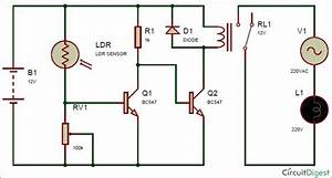 Schematic Diagram For Automatic Street Light Using Ldr And Relay